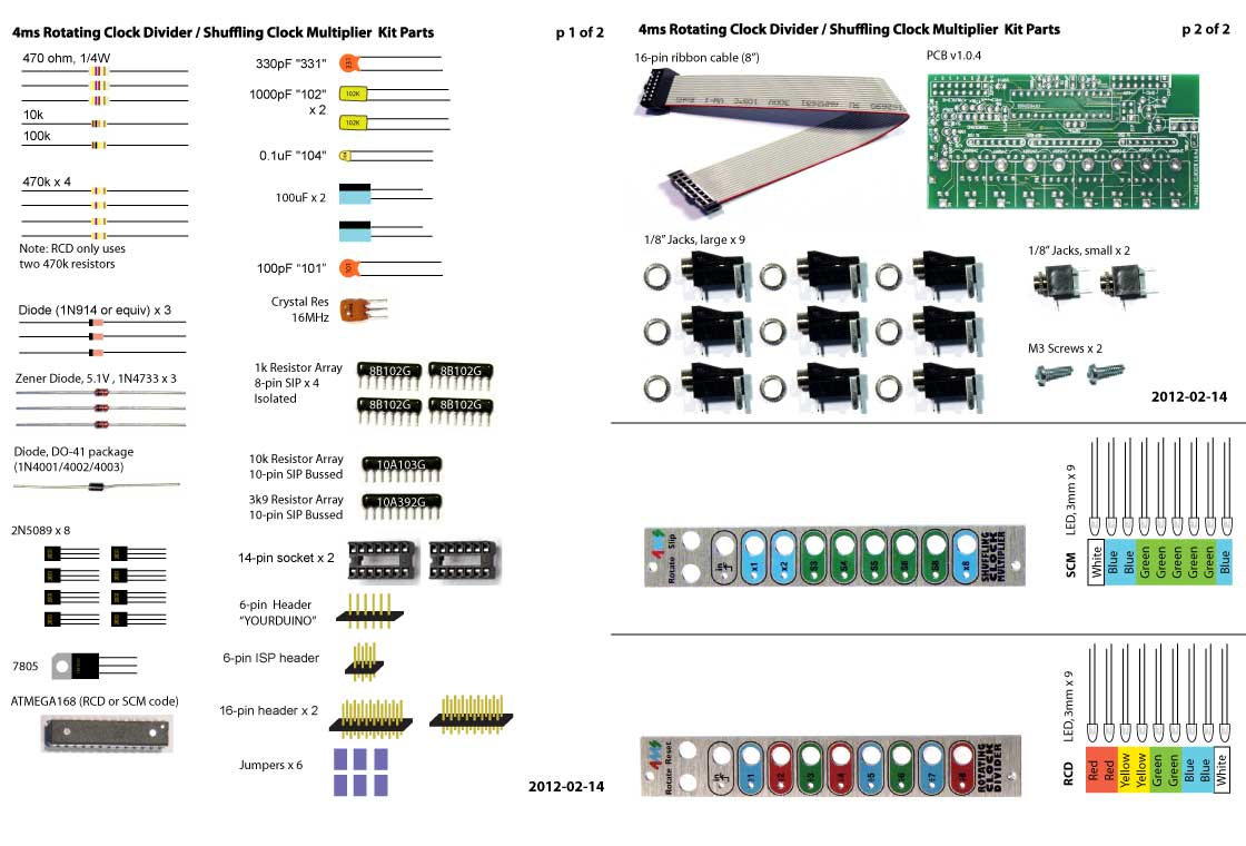 Motherboard Components List: 4ms Pedals: Kits